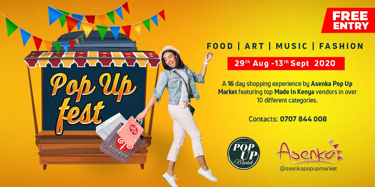 Indulge in a 16-day shopping experience by@asenkapopupmarketfeaturing Kenyan Made brands! Save the dates 29th August to 13th September for a shopping festival with food, fashion, art and music at the@westgatepopupmarket
